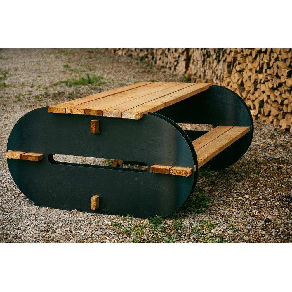 The Maria   A Modern Picnic Table DIY Kit   Blaze Tower Fire Pit And Grill