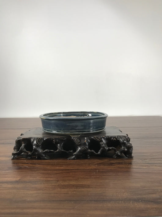 7.5 x 1.75 inch Glazed Bonsai Pot