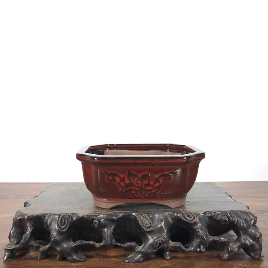 Gazed Mokko Bonsai Pot (6 X 4.8 X 2.7 inches)