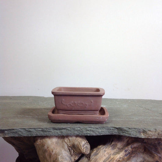 3.75 x 2.75 x 2.25 inch Unglazed Rectangle Bonsai Pot