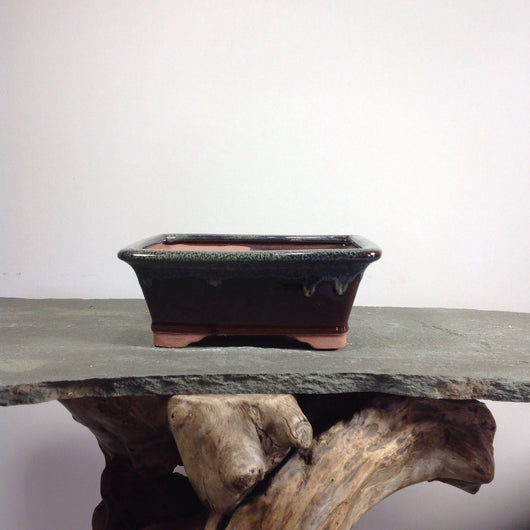 8.5 x 6.5 x 3 inch Glazed Bonsai Pot