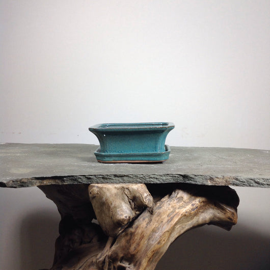 6 x 4.75 x 2 inch Glazed Bonsai Pot