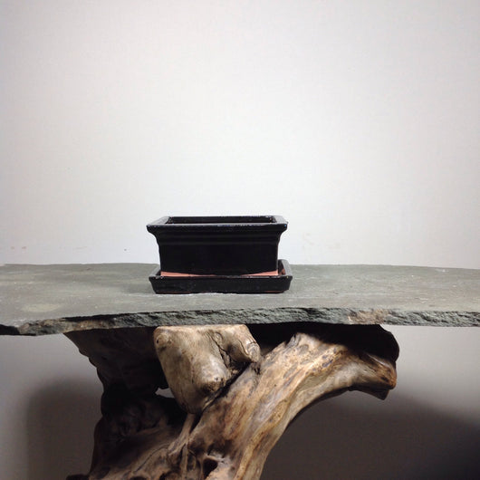 6 x 4.75 x 3 inch Glazed Bonsai Pot