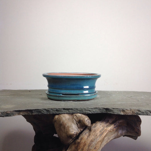 7.5 x 6.75 x 2.5 inch Glazed Oval Bonsai Pot