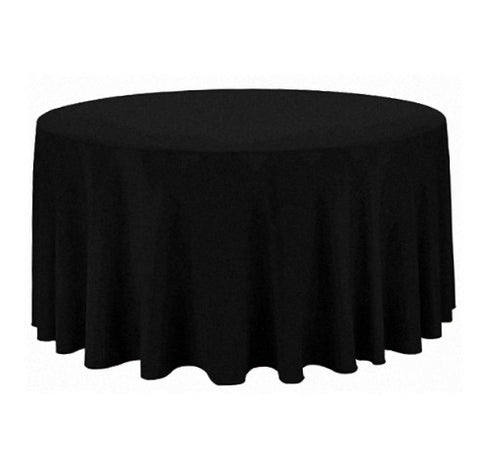"Tablecloth hire Black 120"" Round"