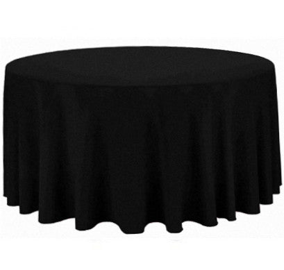 "Tablecloth hire Black 132"" Round"