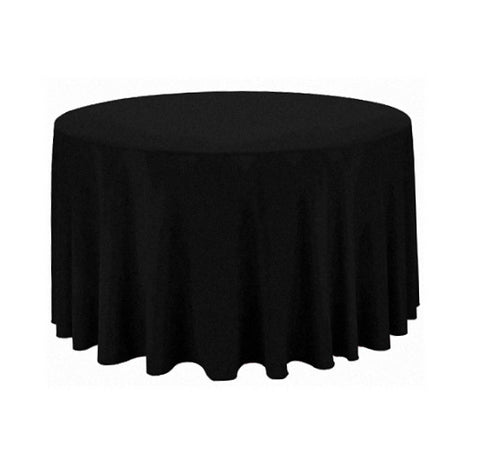 "Tablecloth hire Black 108"" Round"