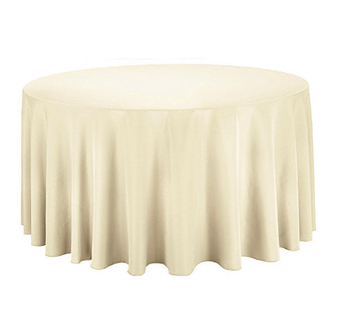 "Tablecloth hire Ivory 120"" Round"