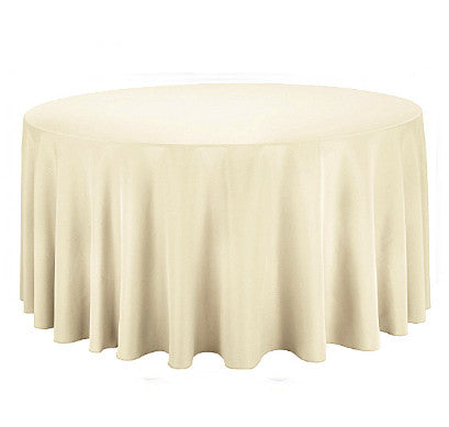 "Tablecloth hire Ivory 132"" Round"