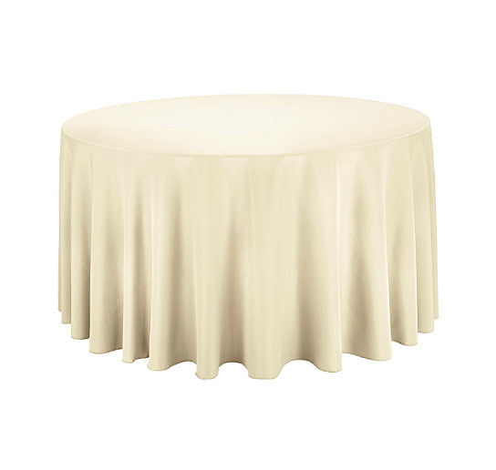 "Tablecloth hire Ivory 108"" Round"