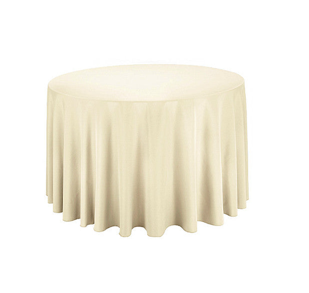 "Tablecloth hire Ivory 90"" Round"