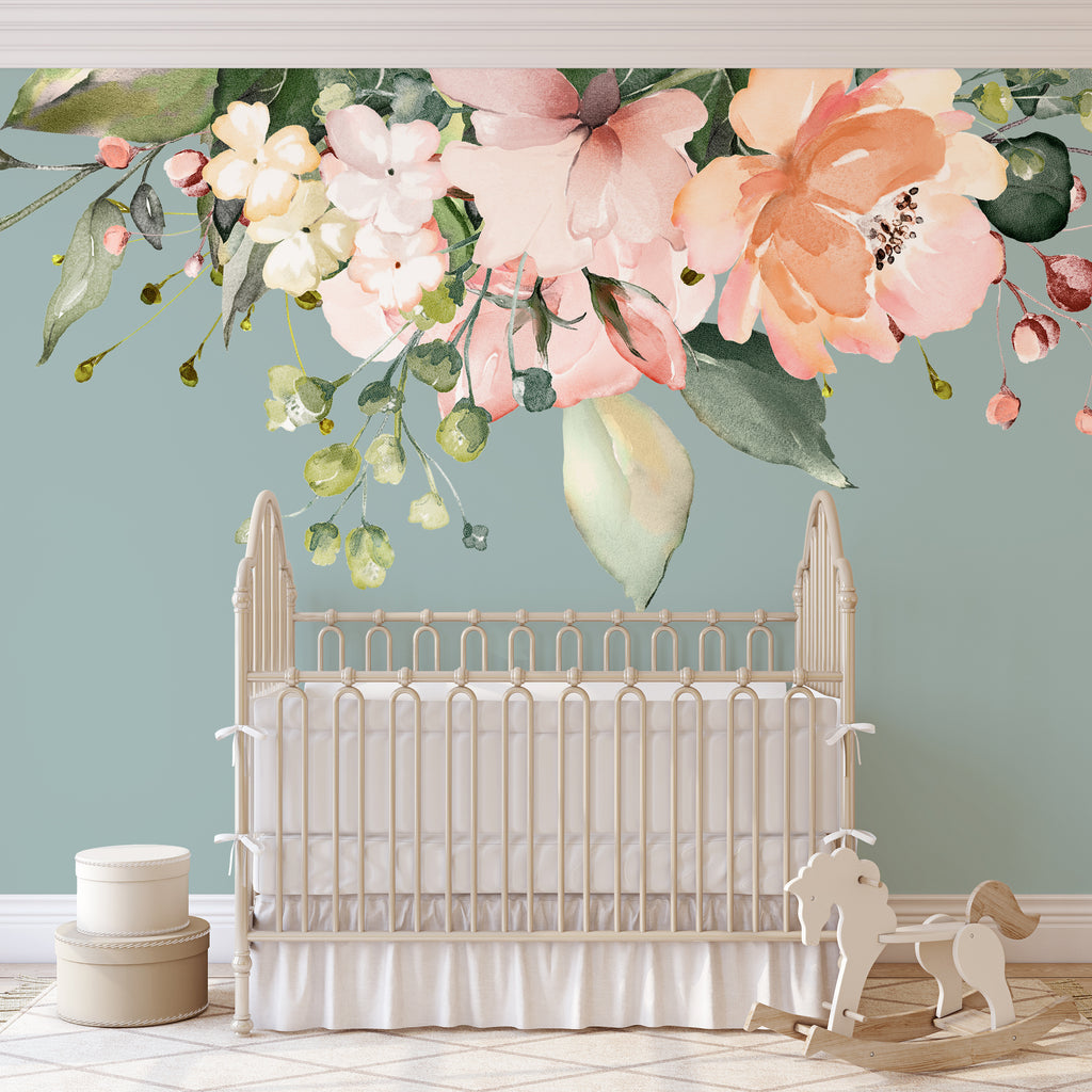 Pink Coral White Watercolor Flowers Mural Decals Rose Garden