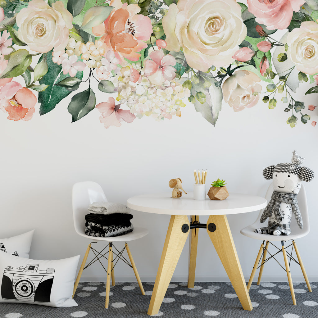 Zoey Rose Garden Pink White Watercolor Flowers Mural Wall Decal