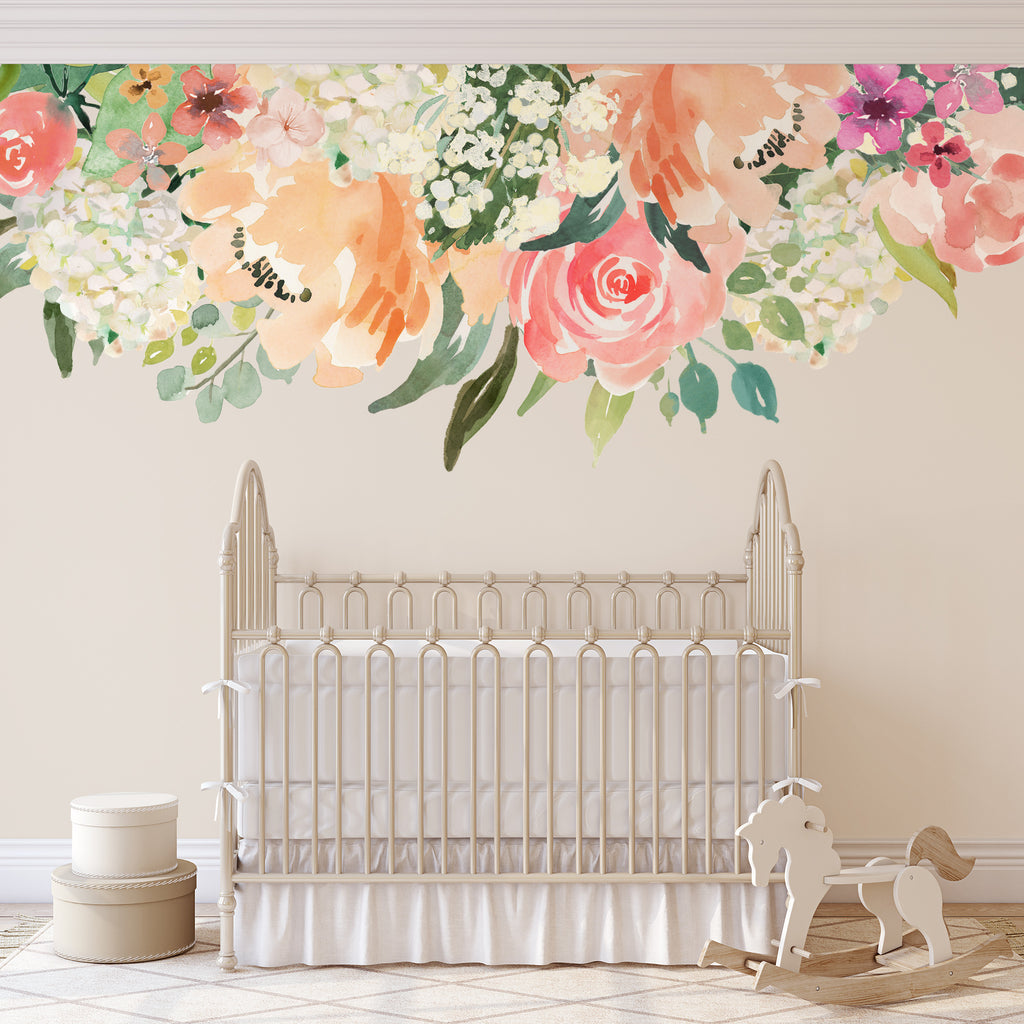 Peaches Cream Watercolor Flowers Mural Wall Decals Border