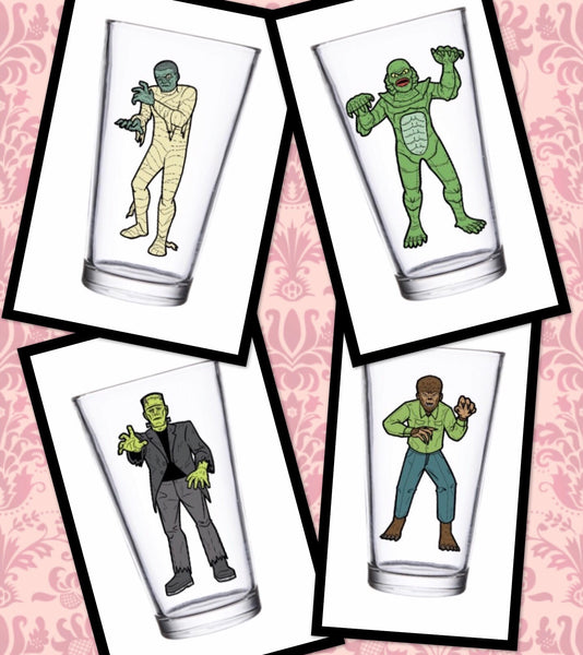 Super7 Universal Monsters 16oz pint glass set of 4 figure set preorder