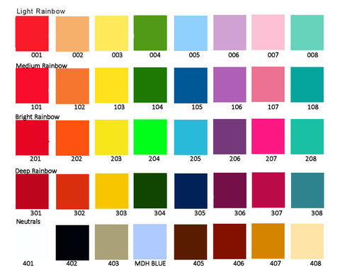 MDH Toys Custom colour chart by M.D. Handfield Designs Inc.