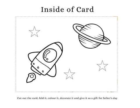 DIY Father's Day card kids can make. Spaceship and planet on the inside of card