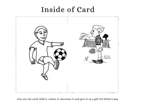 DIY Father's Day card kids can make. Child kicking socor ball to dad holding tenis racket