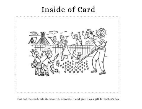 DIY Father's Day card kids can make. Family gardening scene on the inside of card