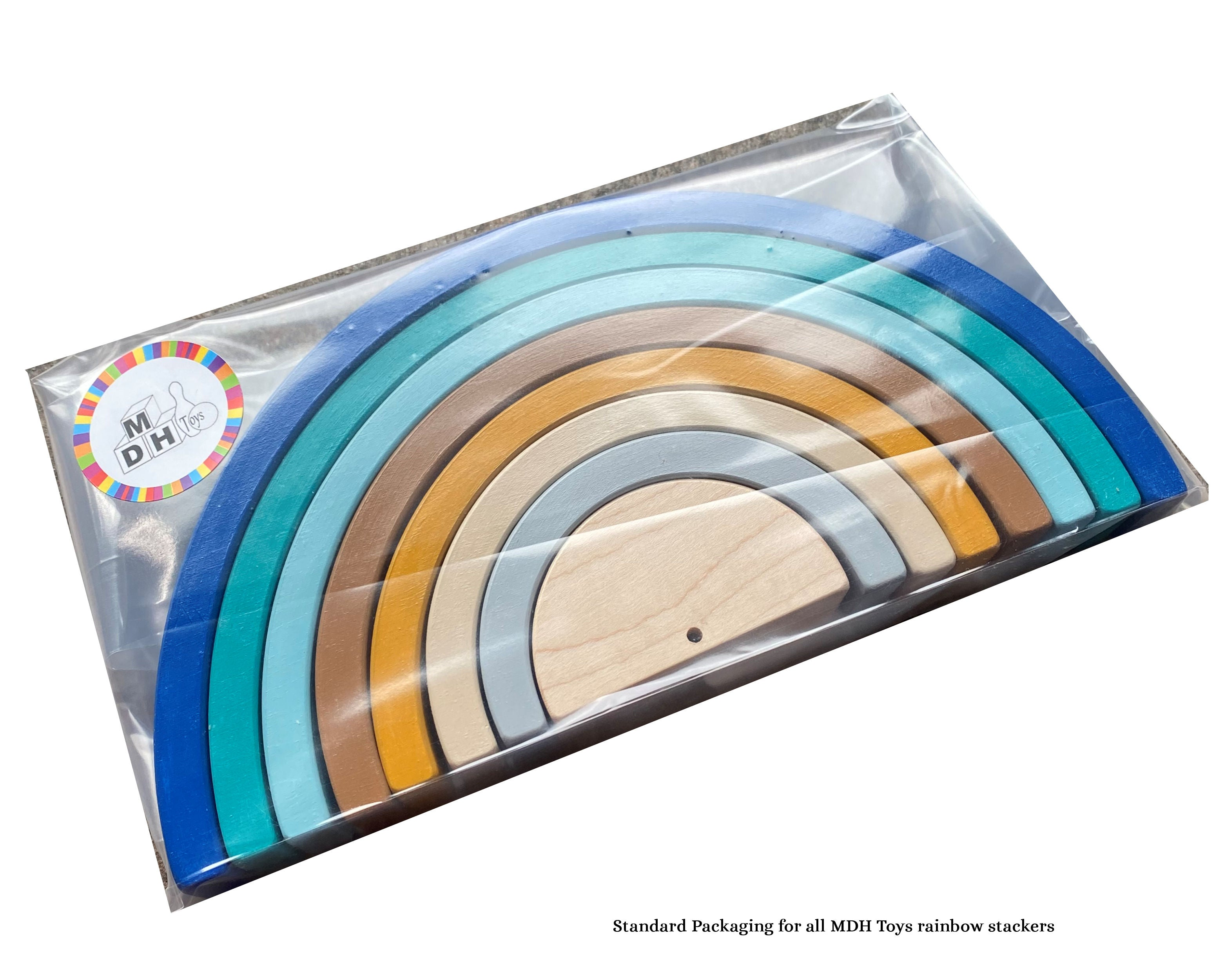 MDH Toys standard packaging for wooden rainbows
