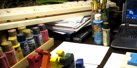 working late into the night making handmade wooden toys. A peak at my home desk at M.D. Handfield Designs Inc.