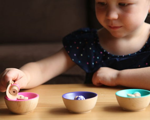 Girl playing with MDH Toys Pink, Purple, Teal Mushroom and Bowls Colour Sorting Set. Photo by Evie Rose Photography (Edmonton, Alberta)