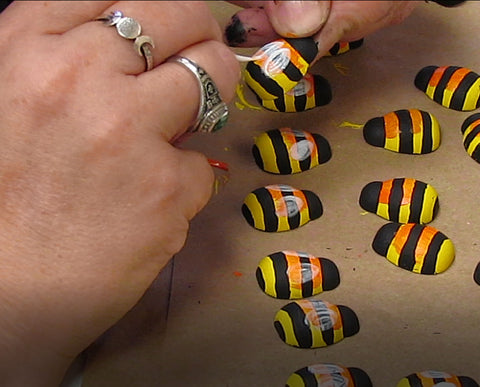 MDH Toys Honey Bee Wooden Toys being painted by hand