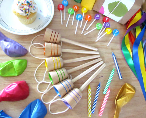 MDH Toys Rainbow Party Collection. Handcrafted wooden toy party favours made in Canada by M.D. Handfield Designs Inc.