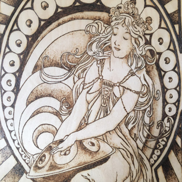 HANDPAN GODDESS : PYROGRAPHY ART PRINT : JYOTI JACOBS