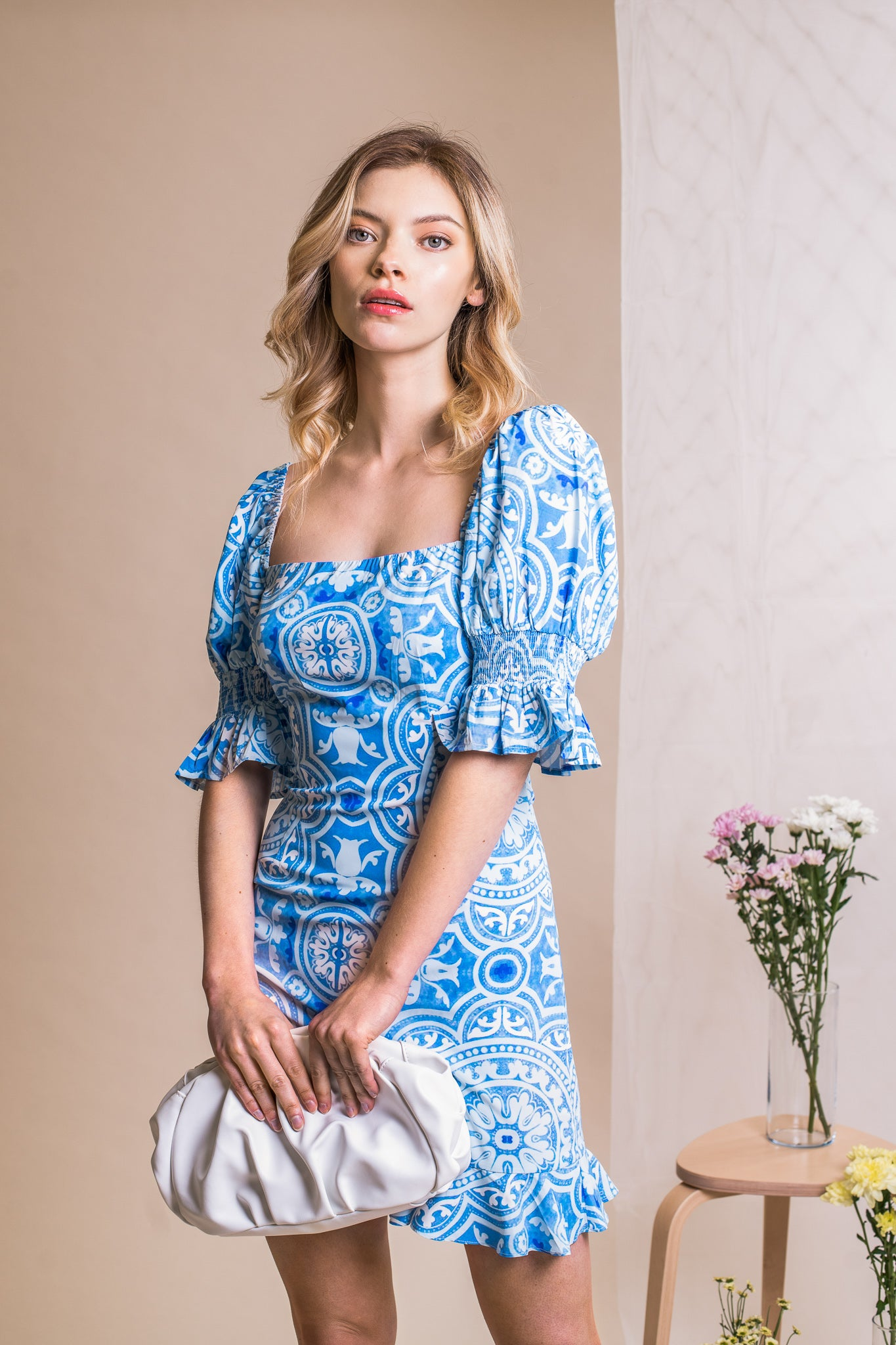 TILE PRINT LORETTA MINI DRESS