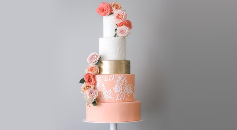 Living Coral and Gold wedding cake inspiration from the Cake of the Week, Sugarverse.