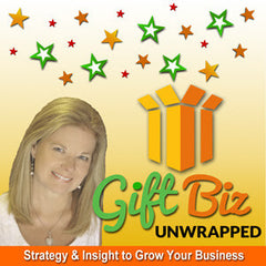Promotional image of Sue Monhait's Podcast Gift Biz Unwrapped