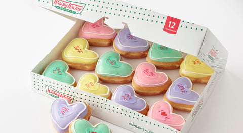 Krispy Kreme releases Valentine's Day conversation heart doughnuts on the heals of the Sweetheart candy shortage announcement.