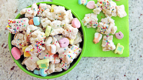 Direct link to Tablespoon Kitchen's recipe for Lucky Rainbow Chex™ Mix.