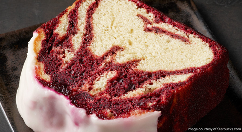 Image of new Starbucks Red Velvet Cake Loaf, offered for a limited time on the 2019 Winter Menu.