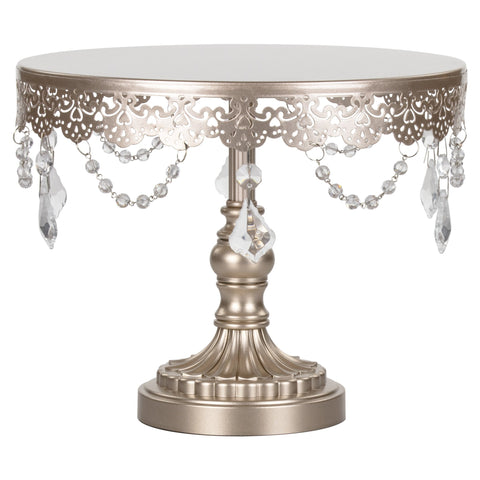 Champagne Crystal Draped Round Cake Stand sold by Sweet Fest. Perfect birthday parties, bridal showers and weddings.