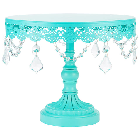 Tiffany colored cake stand. Teal Crystal Chandelier, Crystal Draped Round Cake Stand sold by Sweet Fest. Great gift for a baker. Perfect bakeries, birthday parties, bridal showers and weddings.