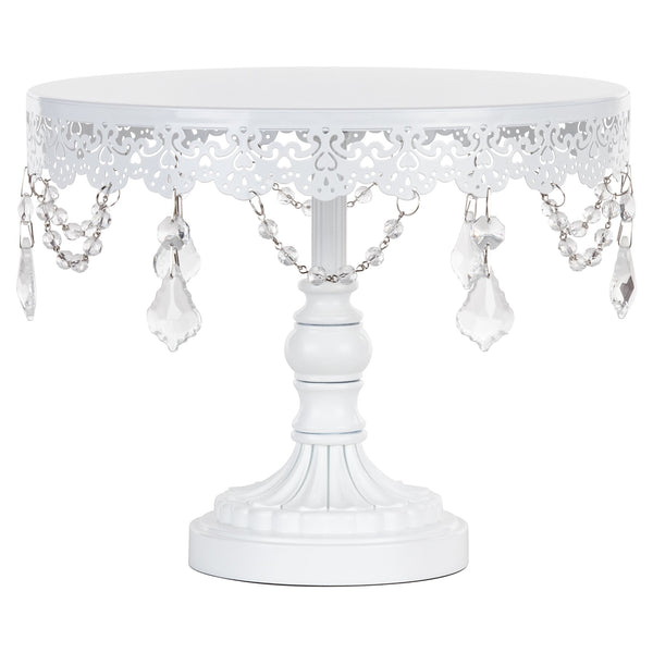 White Cake Stand. White Crystal Chandelier Style Cake Stand, Crystal Draped Round Cake Stand sold by Sweet Fest. Great gift for a baker. Perfect bakeries, birthday parties, bridal showers and weddings.