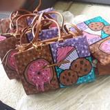 Hand painted custom designed sweet tote purse for bakers and sweet treat makers.