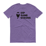 Purple Dip Game Strong, Strawberry t-shirt for bakers & sweet treat makers who rock at making dipped treats such as chocolate covered strawberries.