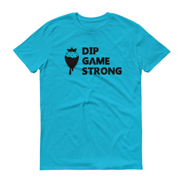 Blue Dip Game Strong, Strawberry t-shirt for bakers & sweet treat makers who rock at making dipped treats such as chocolate covered strawberries.