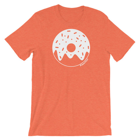Purchase an orange, donut lovers t-shirt from Sweet Fest. Comfortable Bella + Canvas shirt has a white, glazed donut printed on the front with no design on the back. Perfect gift for the donut & sprinkles lover in your life.