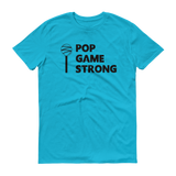 Blue Pop Game Strong t-shirt for bakers, sweet treat makers and cake poppers.