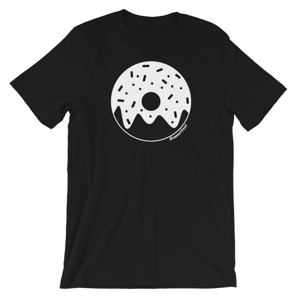 Purchase a black, donut lovers t-shirt from Sweet Fest. Comfortable Bella + Canvas shirt has a white, glazed donut printed on the front with no design on the back. Perfect gift for the donut & sprinkles lover in your life.