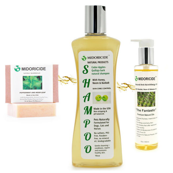Enter for a chance to win $65 total value Midoricide's 3 Piece Natural Pet Shampoo Bundle Set