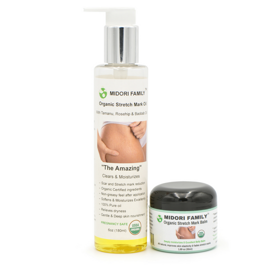 Organic stretch mark oil and balm - 2 Piece Set