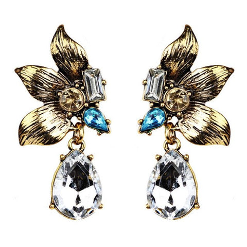 1 Pair Elegant Women Fashion Petal Rhinestone VINTAGE EARRINGS Ear Earrings Crystal Chain #30