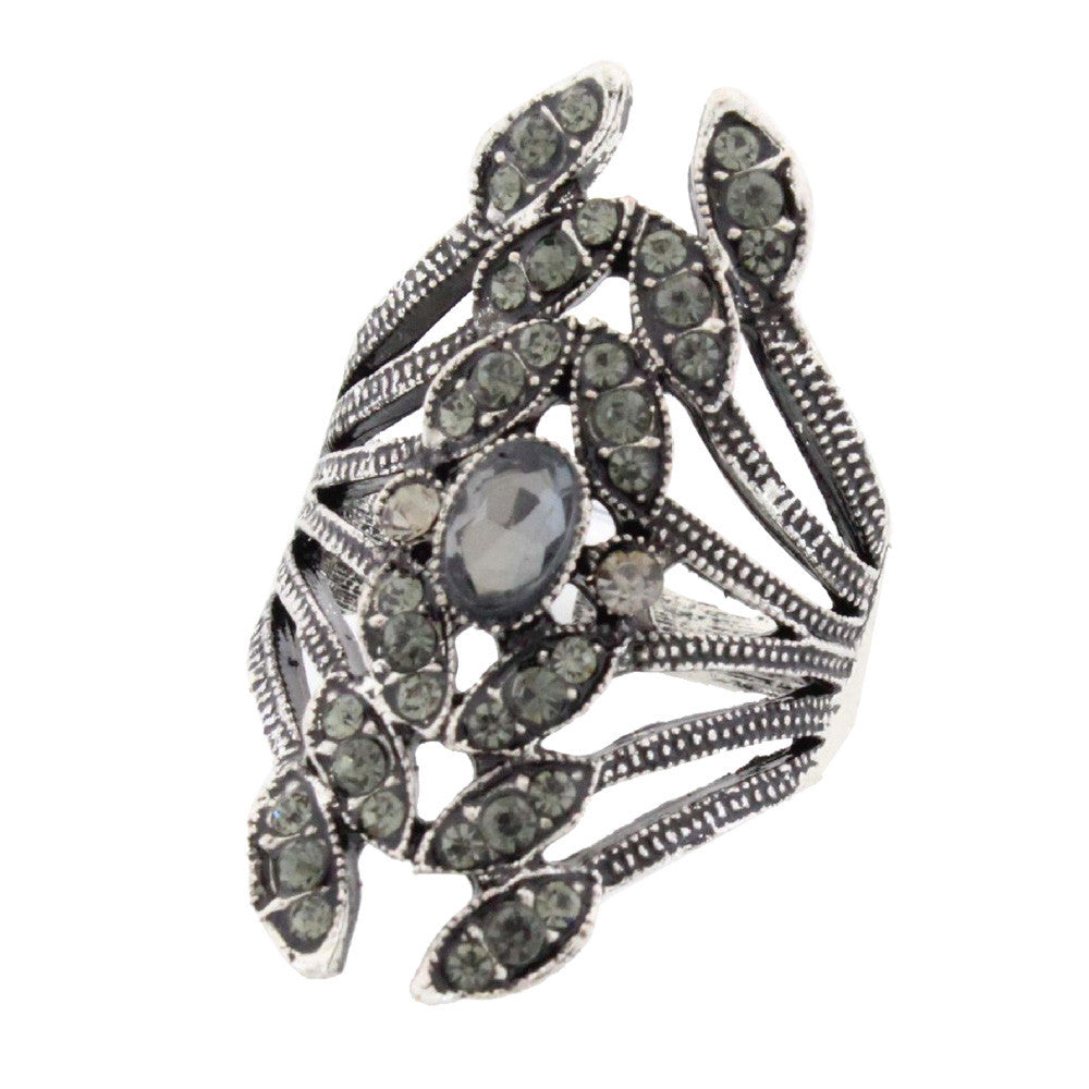 Women Retro Leaves Ring Crystal Jewelry Size 8-9 Rings Retro ring leaves leaves cocktail ring #GH40