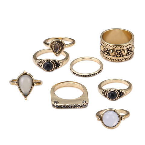 Boho Jewelry Stone Midi Ring Sets for Women Anel Vintage Tibetan Turkish Silver Color Flower Knuckle Rings Gift 8pcs/Set #py30