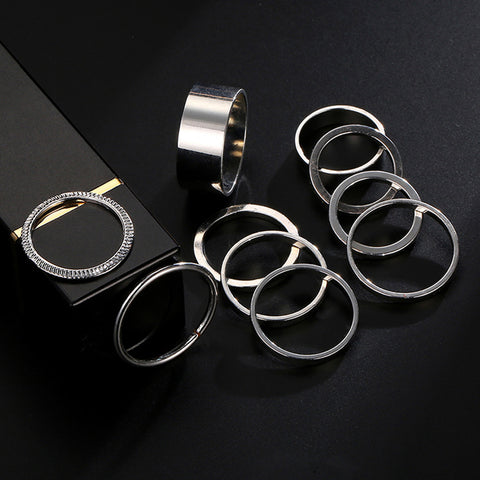 10 PCS/Set Wholesale Silver Zircon Punk Style Fashion Jewelry Vintage Knuckle Ring Party Gift Rings Set for Women Simple Design